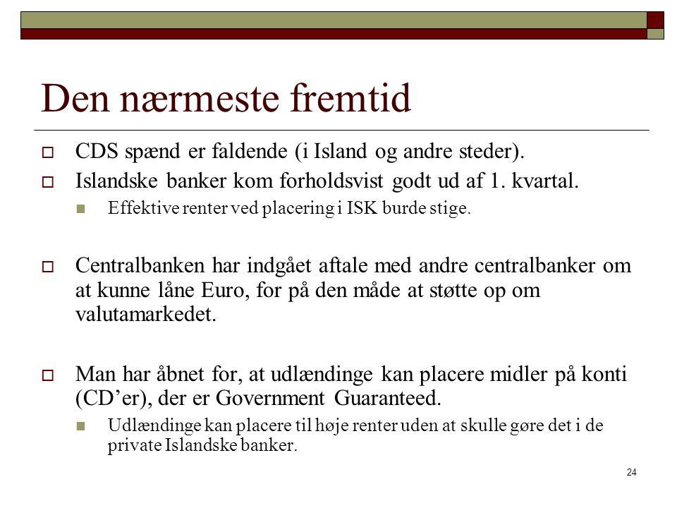 Den nærmeste fremtid CDS spænd er faldende (i Island og andre steder).