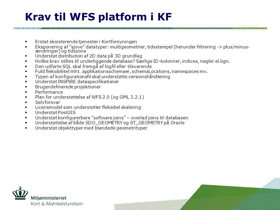 Krav til WFS platform i KF