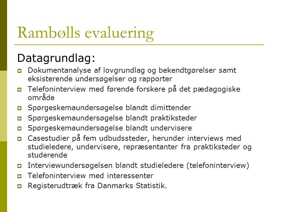 Rambølls evaluering Datagrundlag: