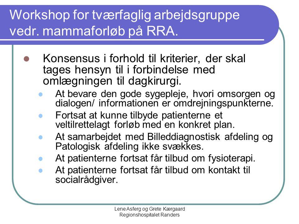 Workshop for tværfaglig arbejdsgruppe vedr. mammaforløb på RRA.