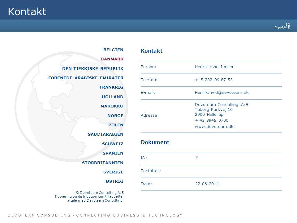 Kontakt Kontakt Dokument BELGIEN DANMARK DEN TJEKKISKE REPUBLIK
