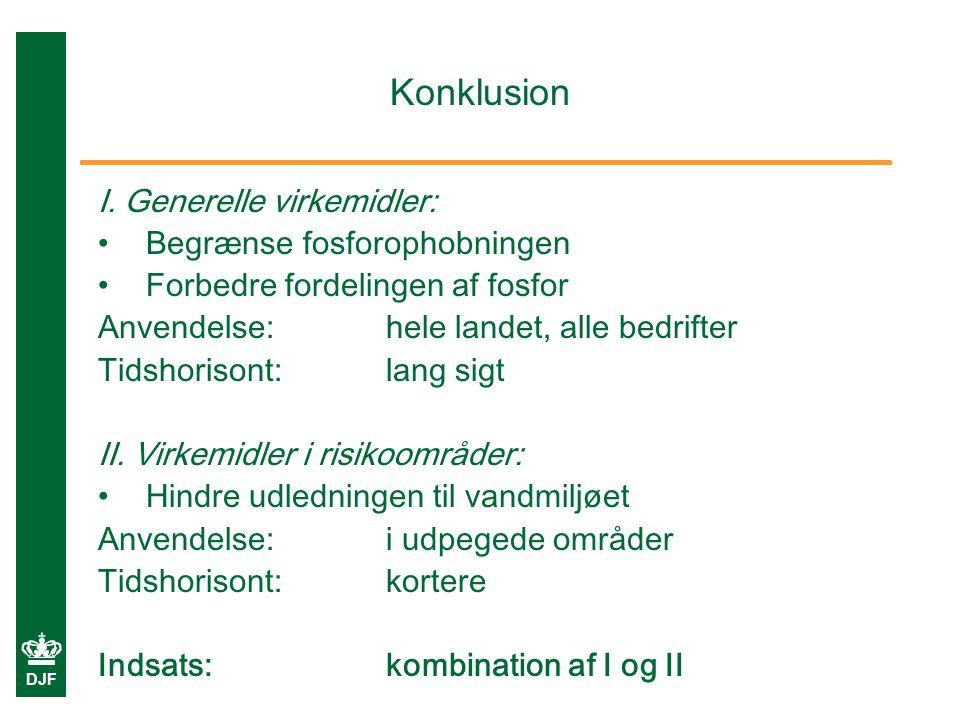 Konklusion I. Generelle virkemidler: Begrænse fosforophobningen