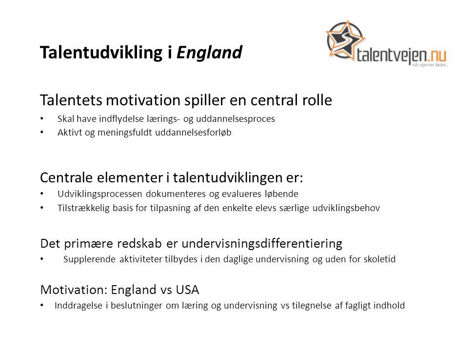 Talentudvikling i England