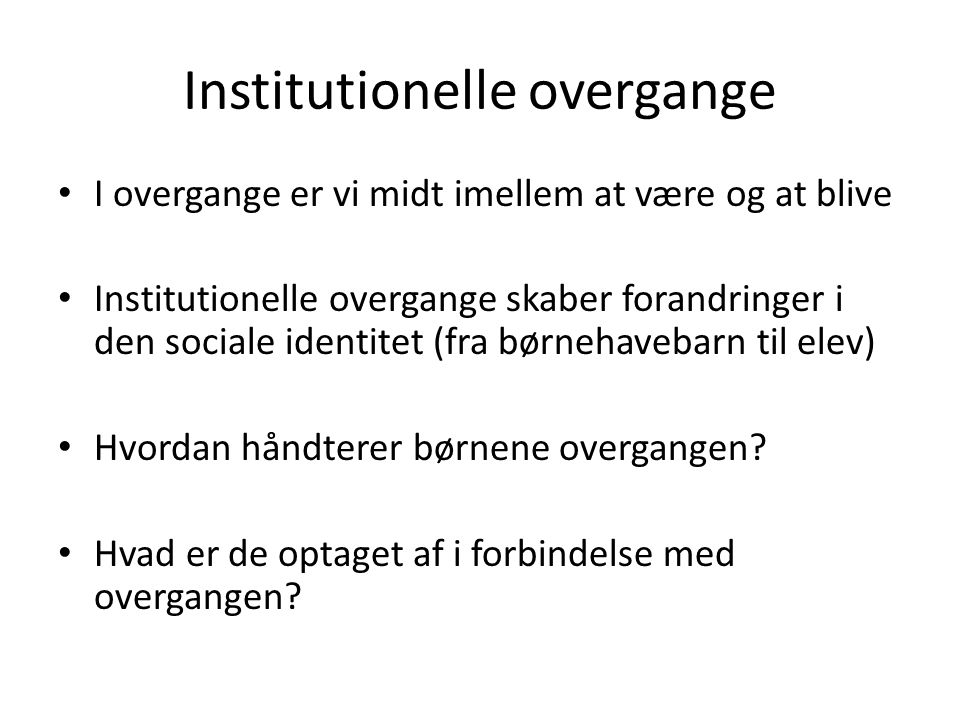 Institutionelle overgange