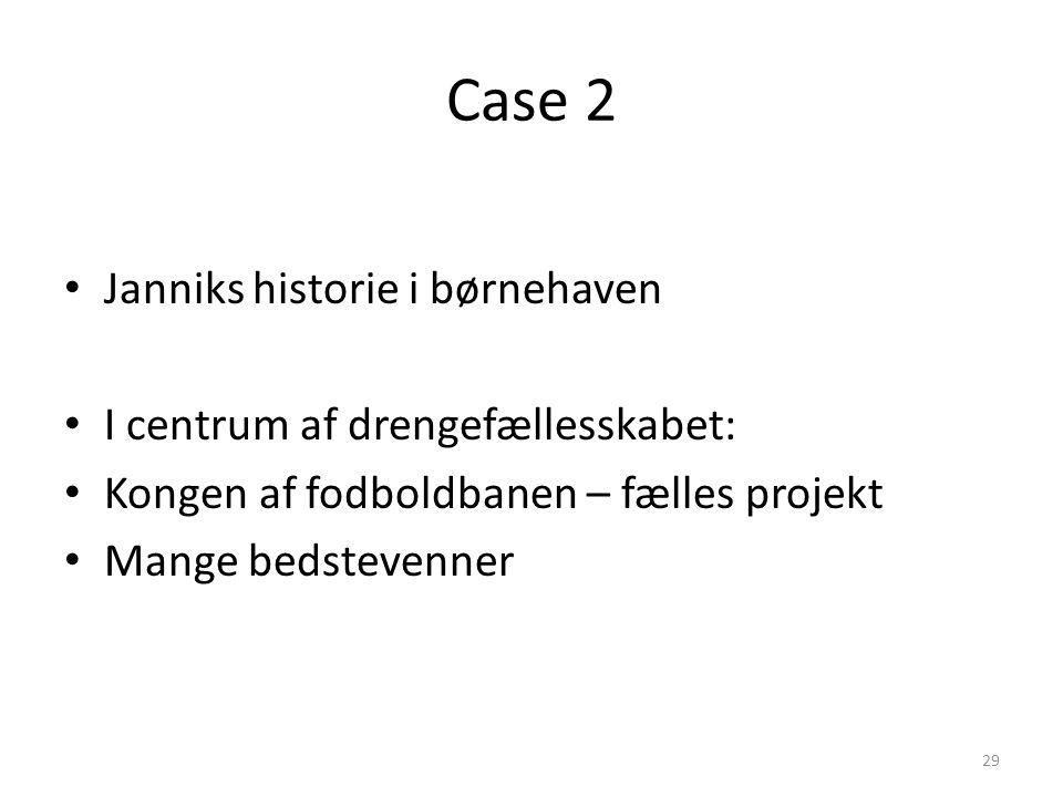 Case 2 Janniks historie i børnehaven I centrum af drengefællesskabet: