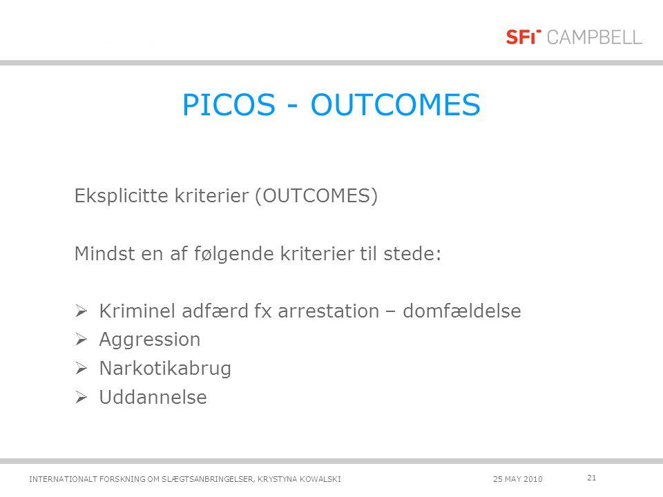 PICOS - OUTCOMES Eksplicitte kriterier (OUTCOMES)