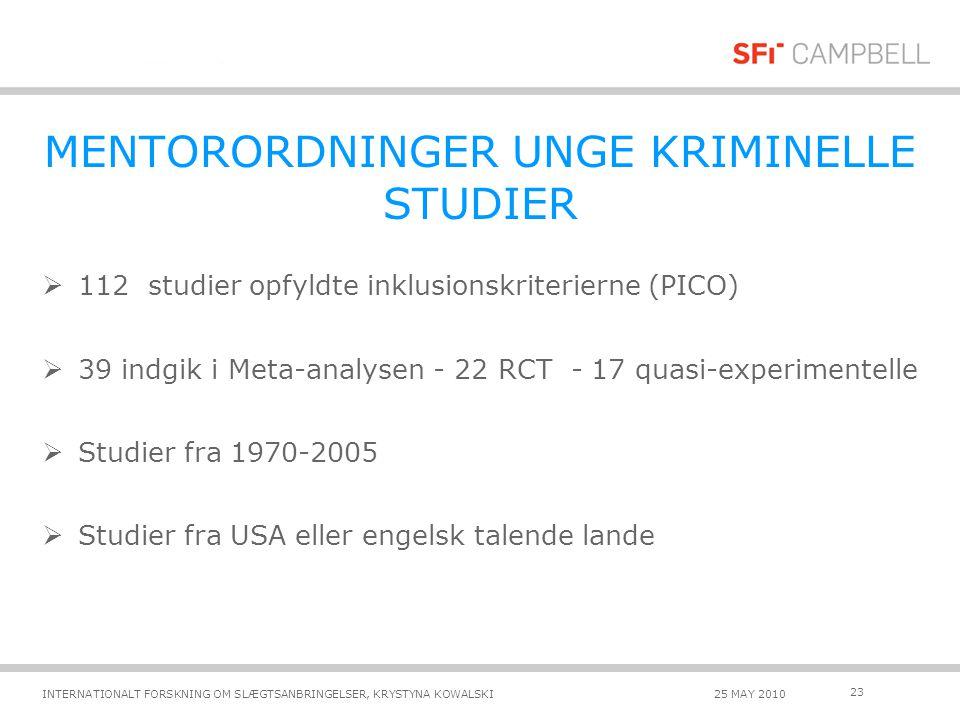 MENTORORDNINGER UNGE KRIMINELLE STUDIER