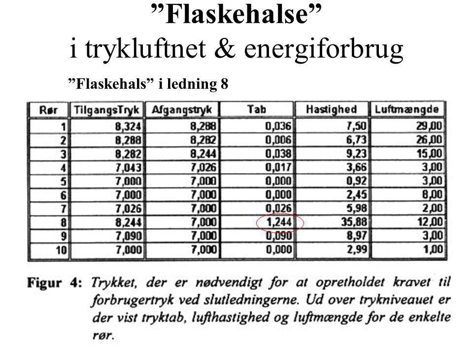 Flaskehalse i trykluftnet & energiforbrug