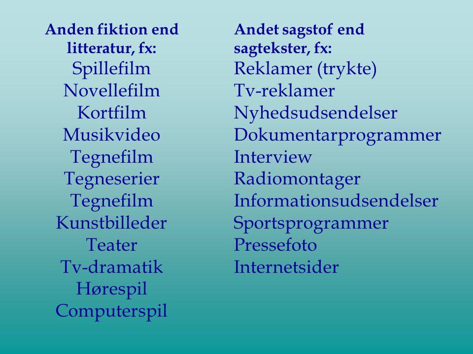 Anden fiktion end litteratur, fx: Spillefilm Novellefilm Kortfilm Musikvideo Tegnefilm Tegneserier Tegnefilm Kunstbilleder Teater Tv-dramatik Hørespil Computerspil