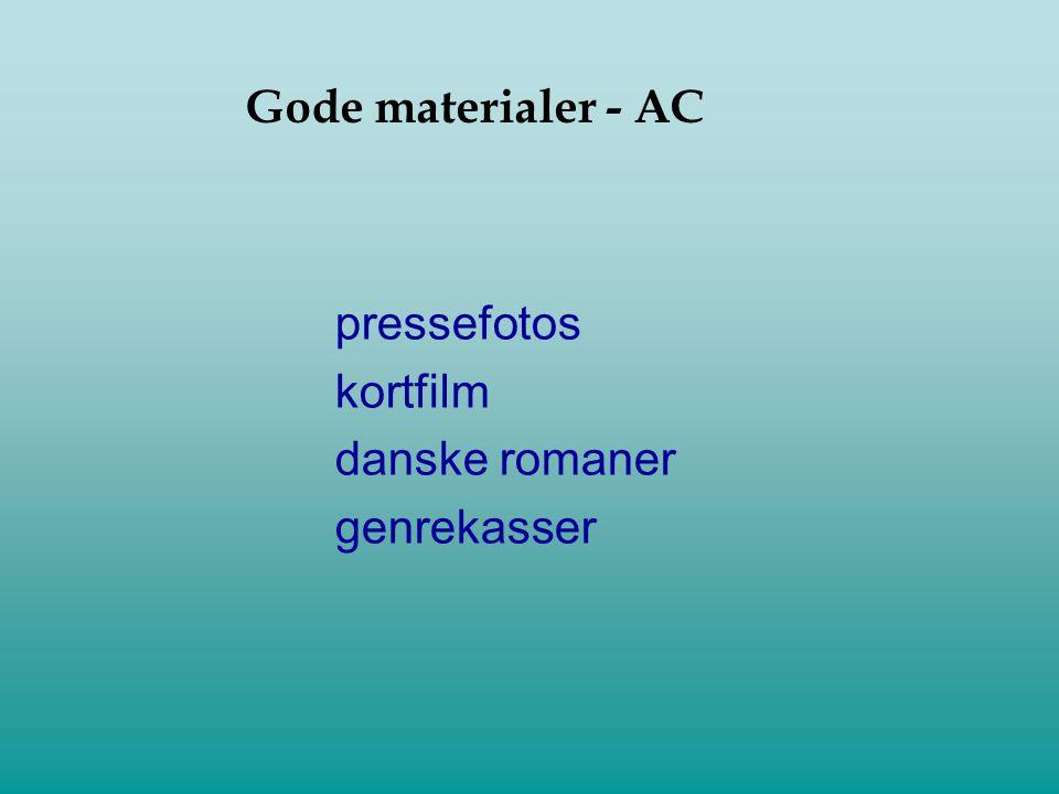 Gode materialer - AC pressefotos kortfilm danske romaner genrekasser