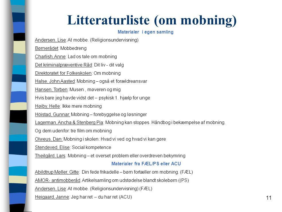 Litteraturliste (om mobning)
