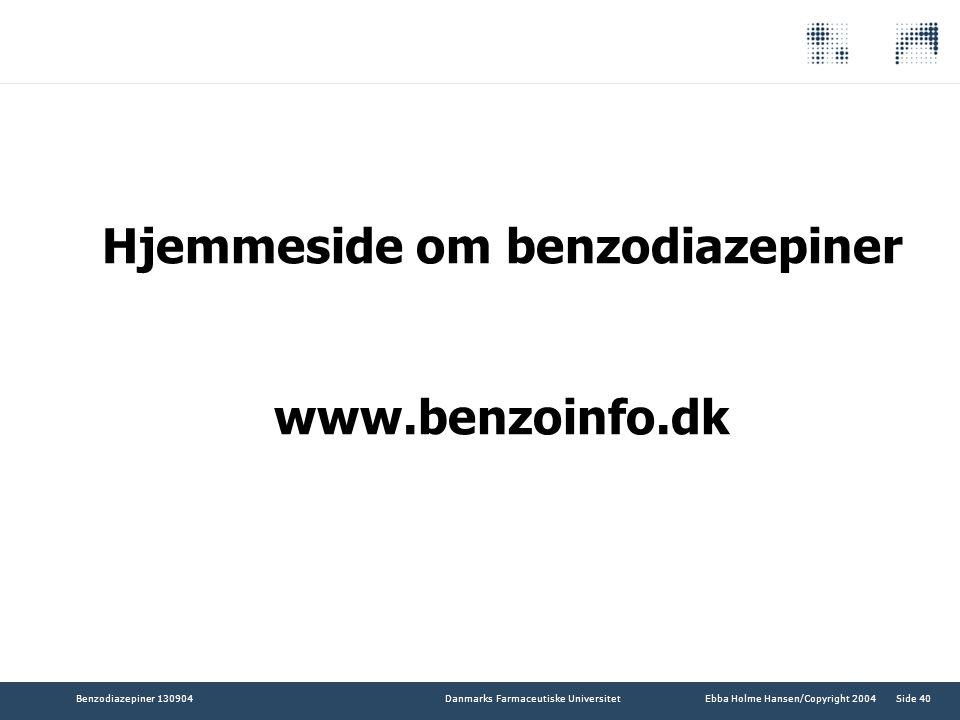 Hjemmeside om benzodiazepiner