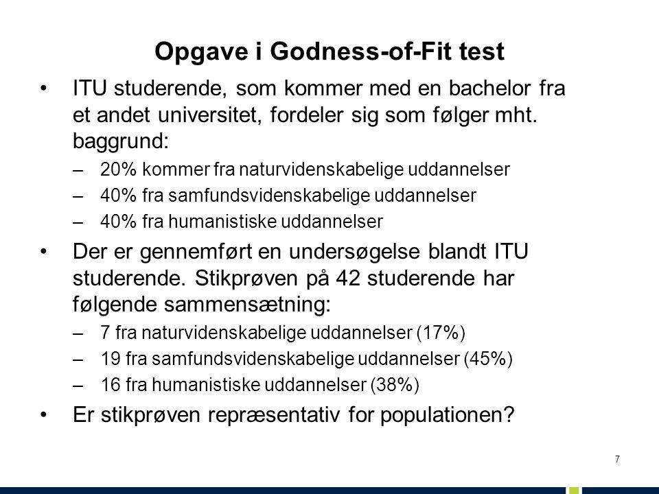 Opgave i Godness-of-Fit test