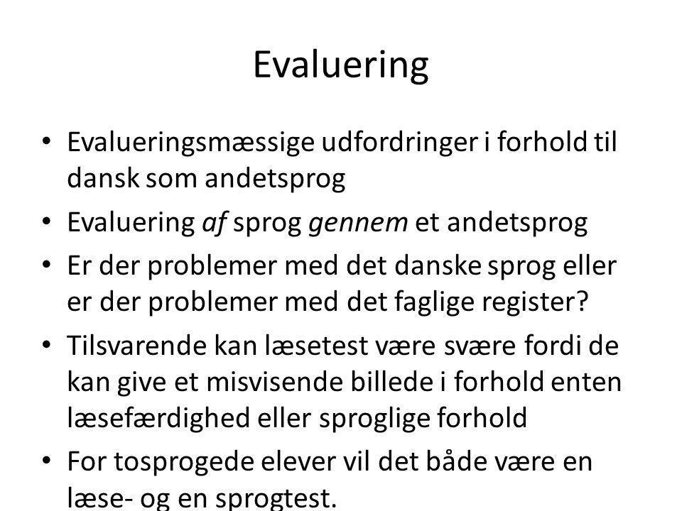 Evaluering Evalueringsmæssige udfordringer i forhold til dansk som andetsprog. Evaluering af sprog gennem et andetsprog.