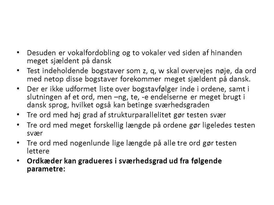 Desuden er vokalfordobling og to vokaler ved siden af hinanden meget sjældent på dansk