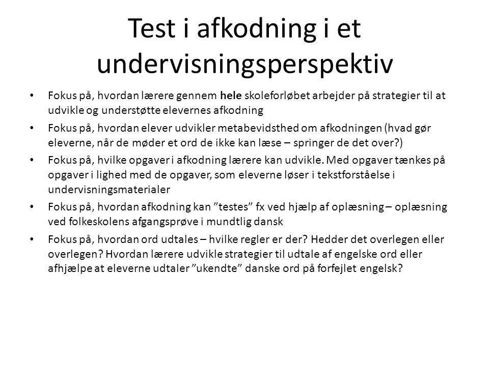 Test i afkodning i et undervisningsperspektiv