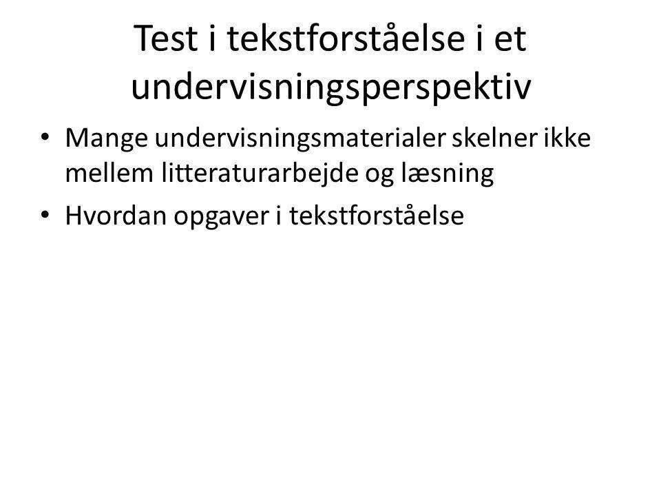 Test i tekstforståelse i et undervisningsperspektiv