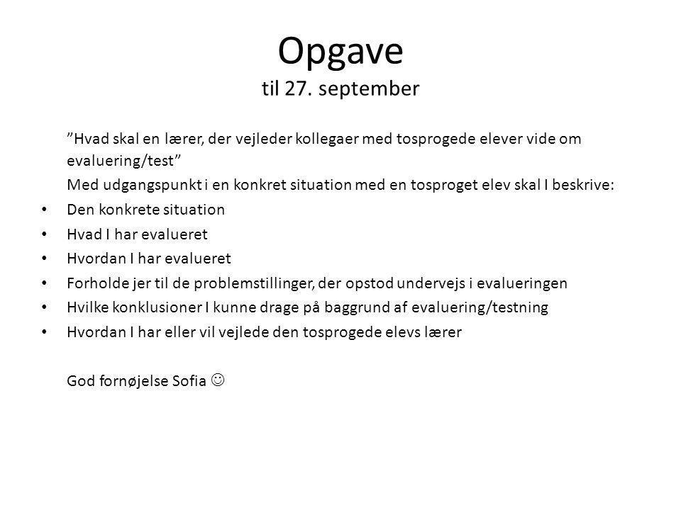 Opgave til 27. september Hvad skal en lærer, der vejleder kollegaer med tosprogede elever vide om evaluering/test