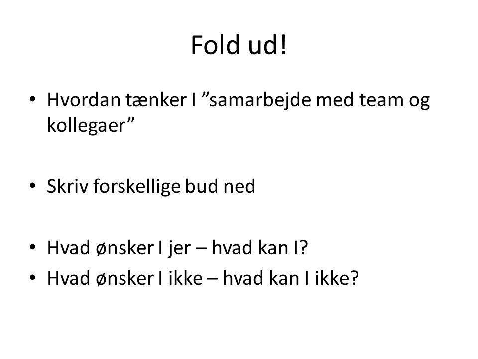 Fold ud! Hvordan tænker I samarbejde med team og kollegaer