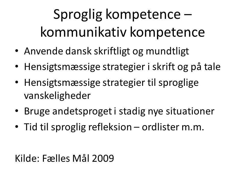 Sproglig kompetence – kommunikativ kompetence