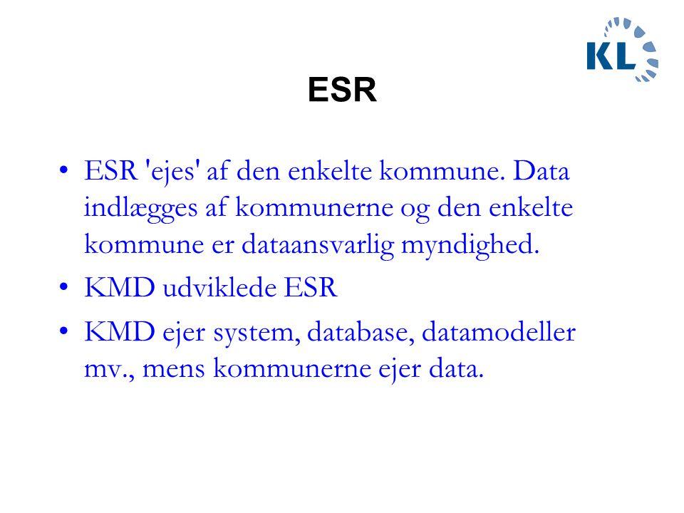 ESR ESR ejes af den enkelte kommune. Data indlægges af kommunerne og den enkelte kommune er dataansvarlig myndighed.