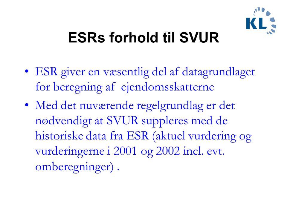 ESRs forhold til SVUR ESR giver en væsentlig del af datagrundlaget for beregning af ejendomsskatterne.