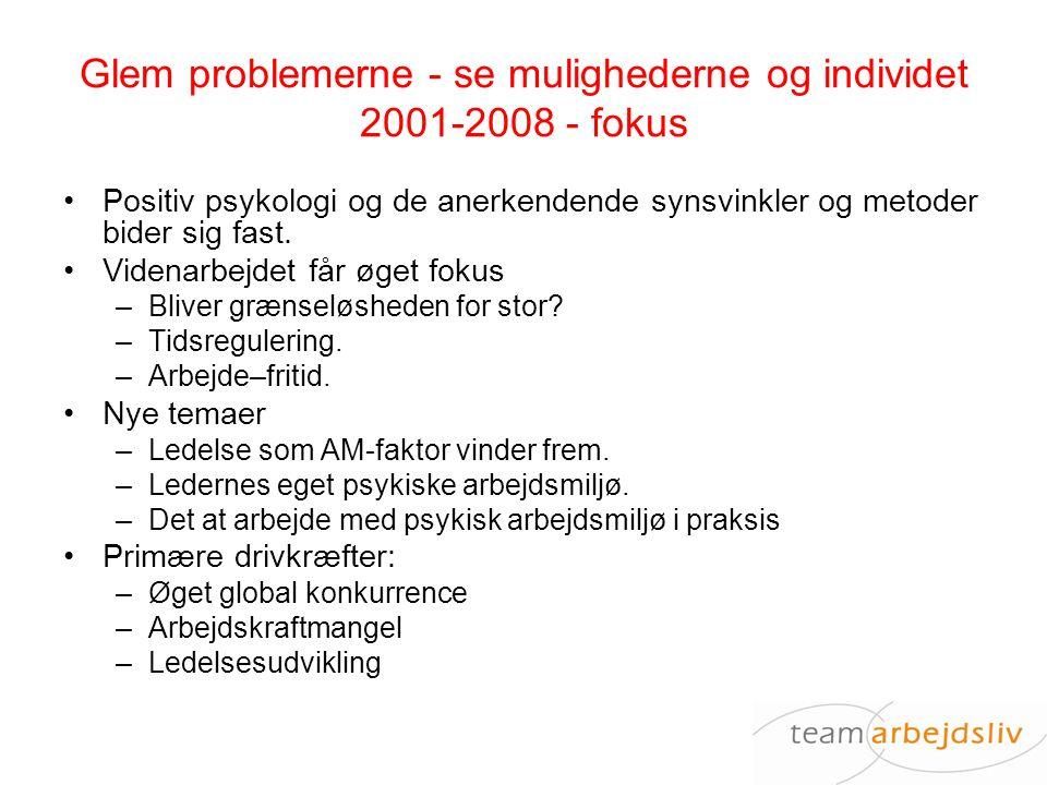 Glem problemerne - se mulighederne og individet 2001-2008 - fokus