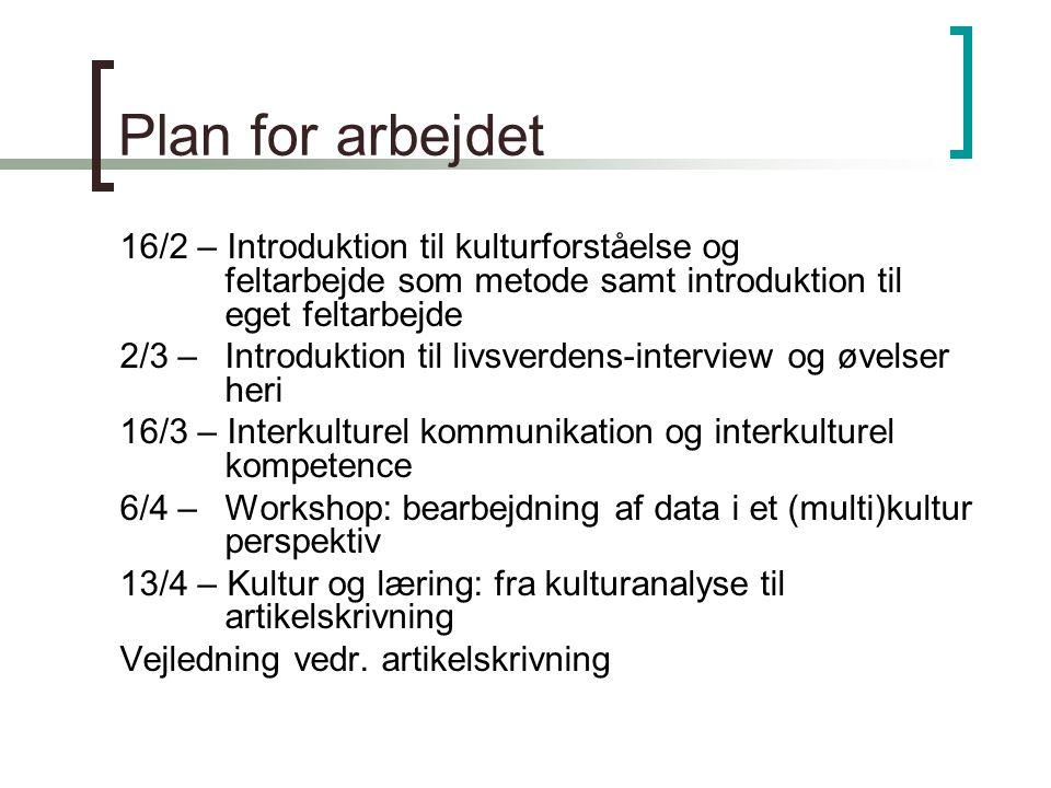 Plan for arbejdet 16/2 – Introduktion til kulturforståelse og feltarbejde som metode samt introduktion til eget feltarbejde.