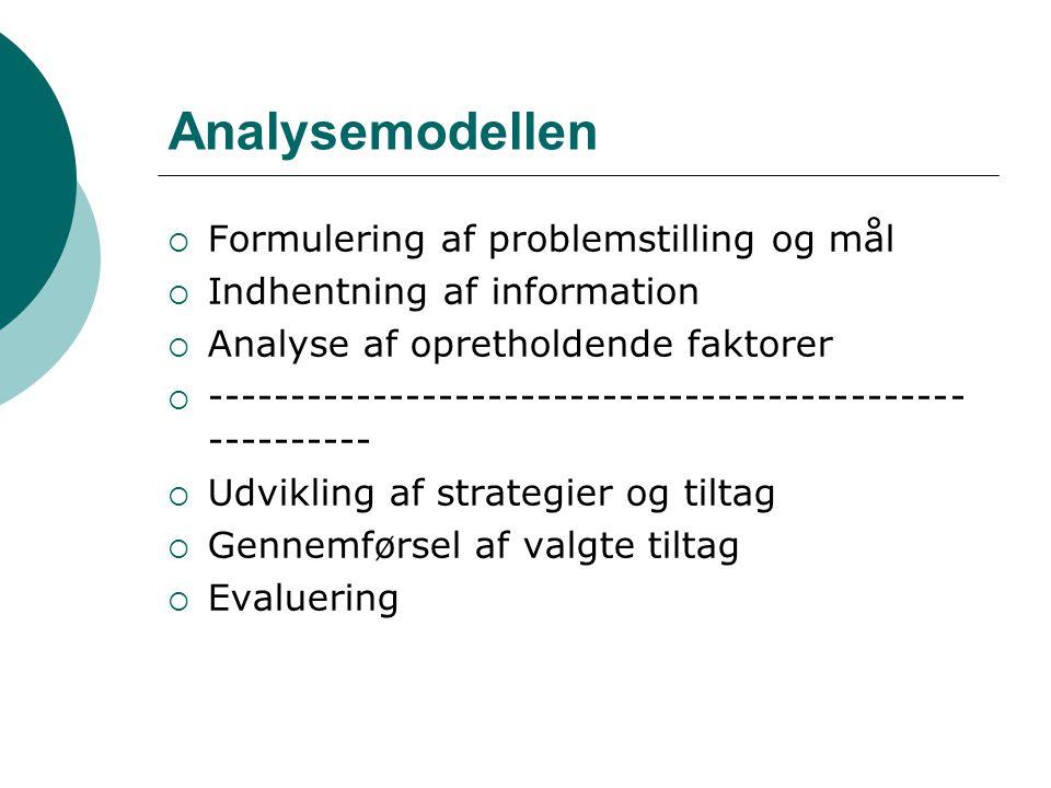 Analysemodellen Formulering af problemstilling og mål