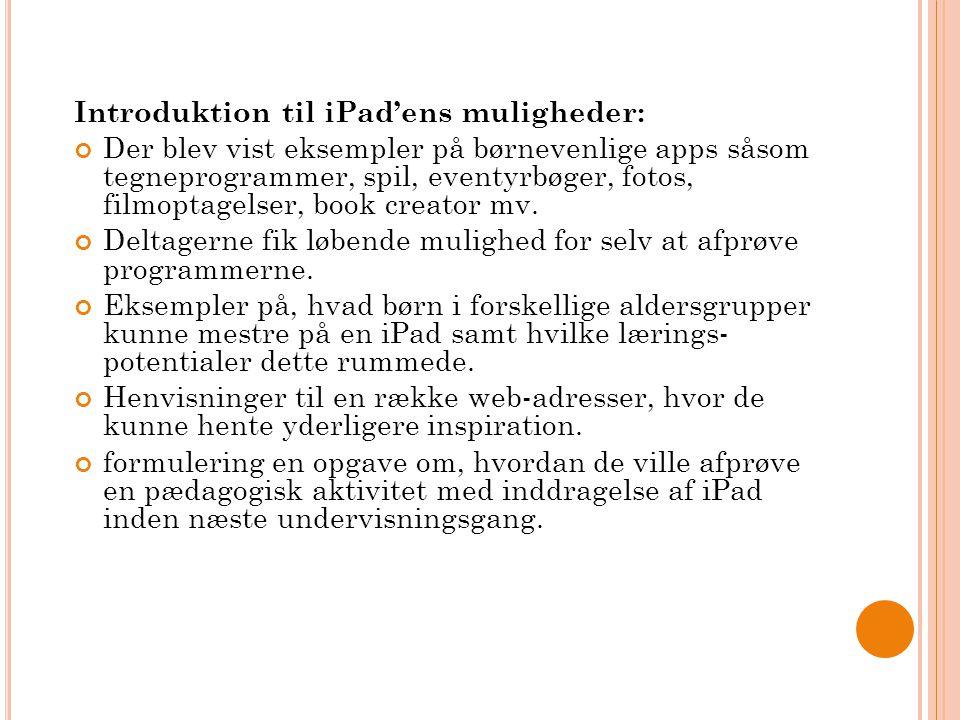 Introduktion til iPad'ens muligheder: