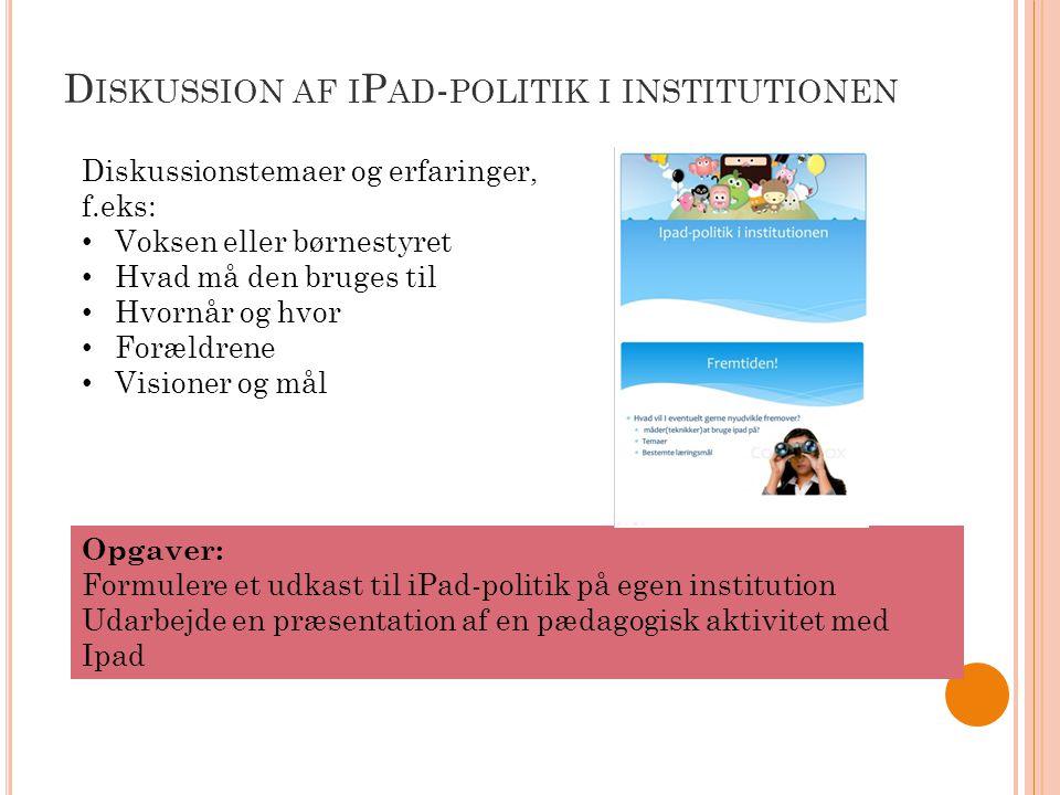 Diskussion af iPad-politik i institutionen