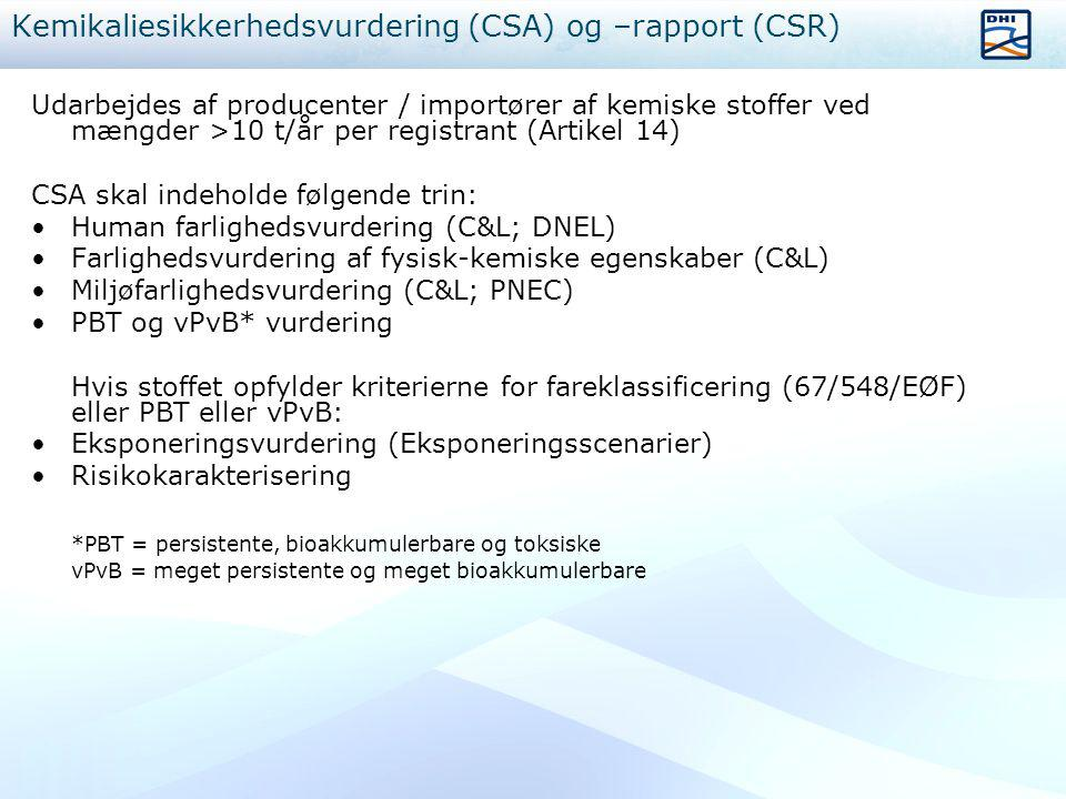 Kemikaliesikkerhedsvurdering (CSA) og –rapport (CSR)
