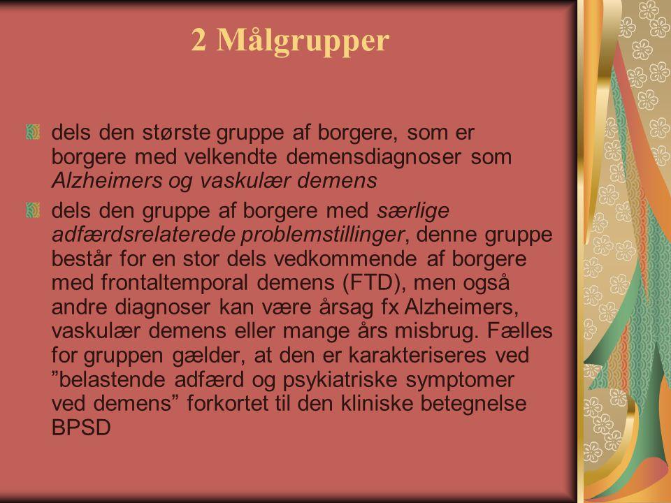 2 Målgrupper dels den største gruppe af borgere, som er borgere med velkendte demensdiagnoser som Alzheimers og vaskulær demens.