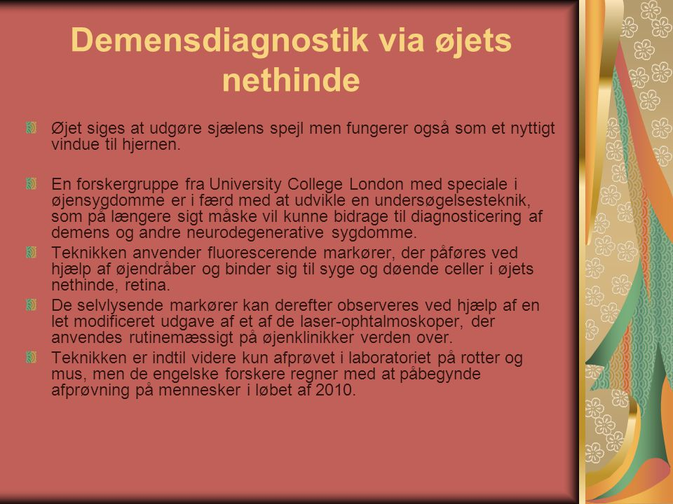 Demensdiagnostik via øjets nethinde