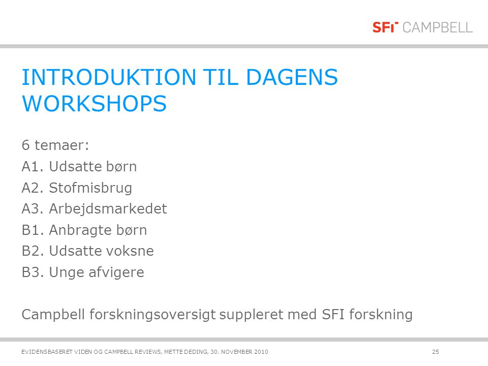 INTRODUKTION TIL DAGENS WORKSHOPS