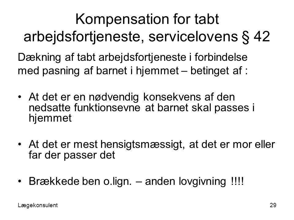 Kompensation for tabt arbejdsfortjeneste, servicelovens § 42
