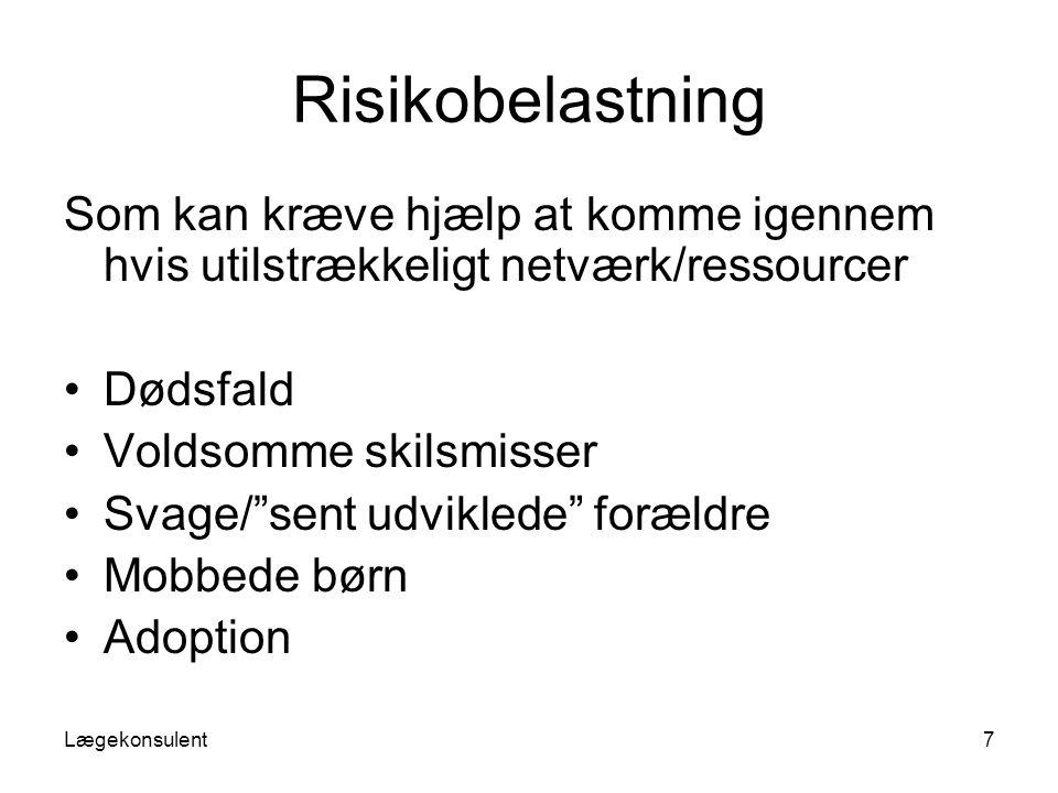 Risikobelastning Som kan kræve hjælp at komme igennem hvis utilstrækkeligt netværk/ressourcer. Dødsfald.