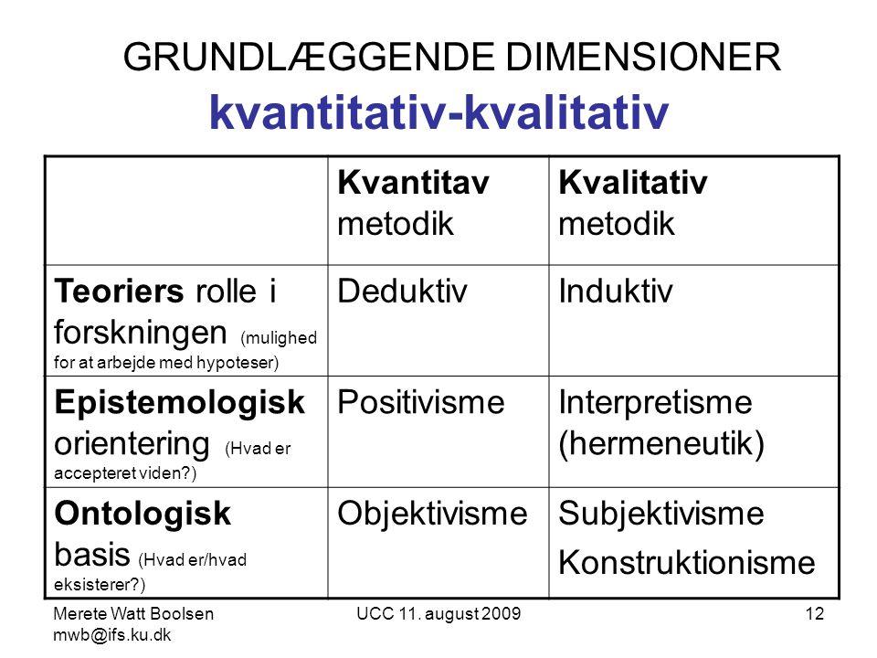 GRUNDLÆGGENDE DIMENSIONER kvantitativ-kvalitativ