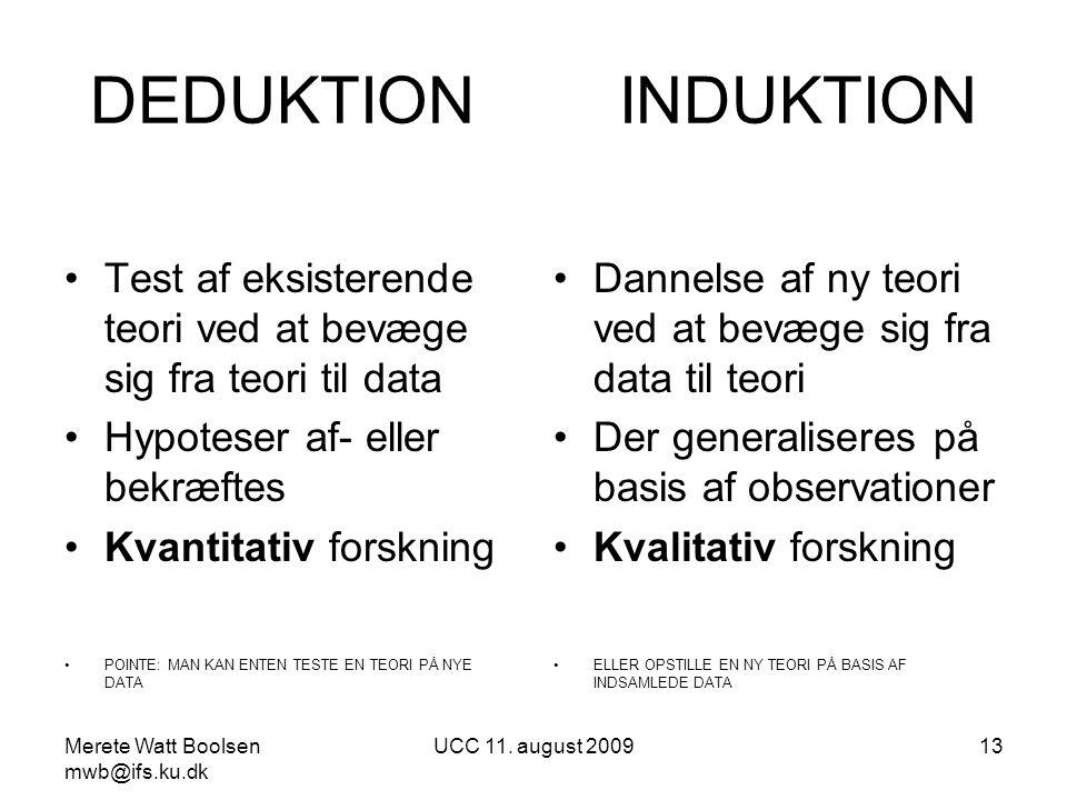 DEDUKTION INDUKTION Test af eksisterende teori ved at bevæge sig fra teori til data. Hypoteser af- eller bekræftes.