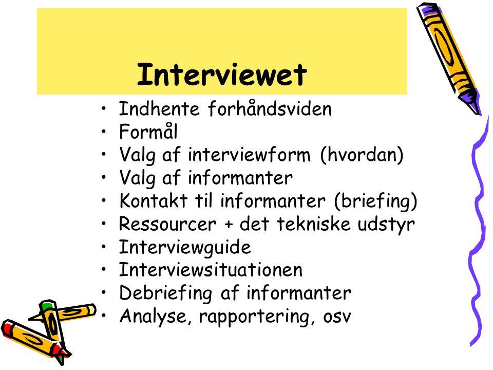 Interviewet Indhente forhåndsviden Formål
