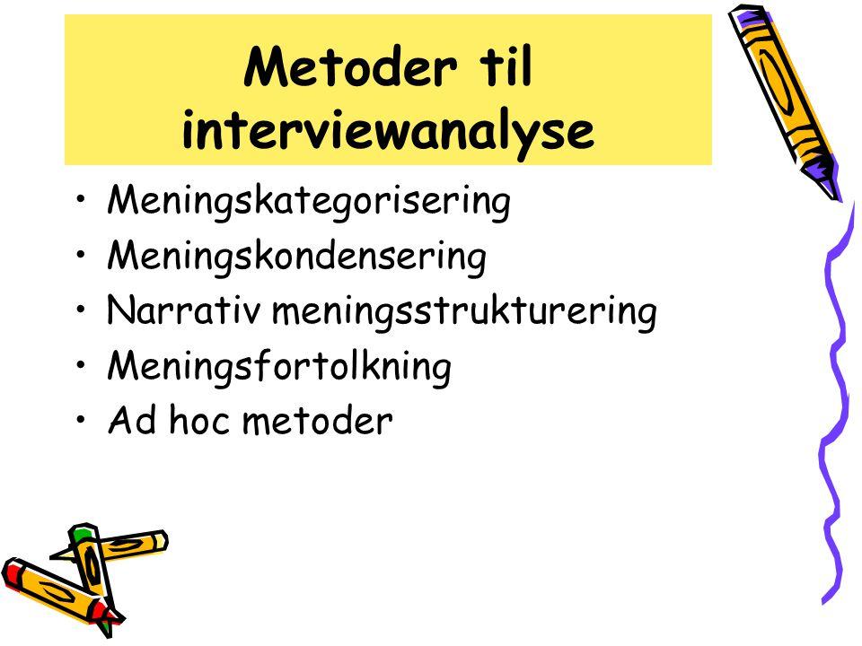 Metoder til interviewanalyse