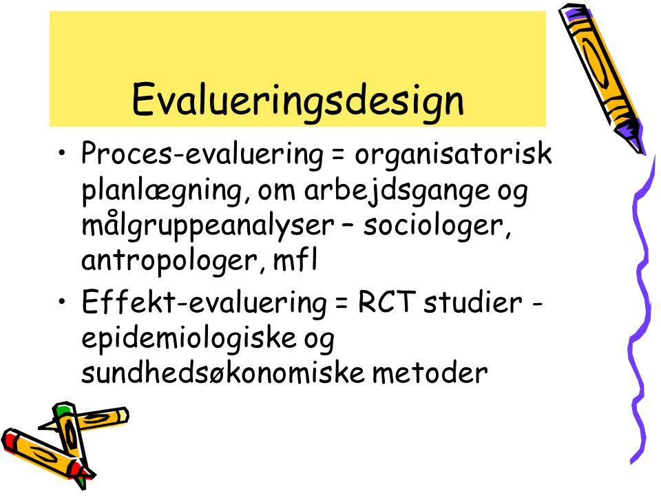 Evalueringsdesign Proces-evaluering = organisatorisk planlægning, om arbejdsgange og målgruppeanalyser – sociologer, antropologer, mfl.