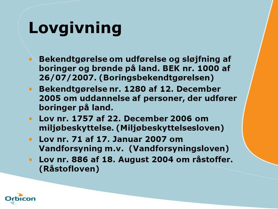Lovgivning Bekendtgørelse om udførelse og sløjfning af boringer og brønde på land. BEK nr. 1000 af 26/07/2007. (Boringsbekendtgørelsen)