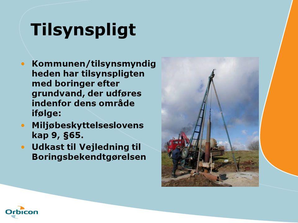 Tilsynspligt Kommunen/tilsynsmyndigheden har tilsynspligten med boringer efter grundvand, der udføres indenfor dens område ifølge: