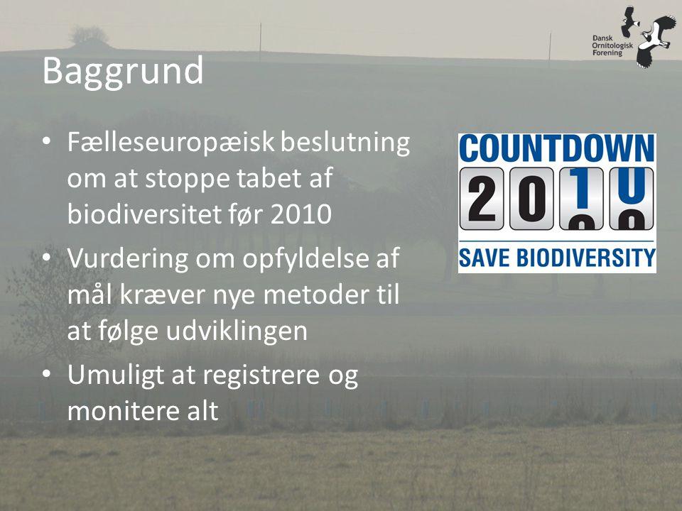 Baggrund Fælleseuropæisk beslutning om at stoppe tabet af biodiversitet før 2010.