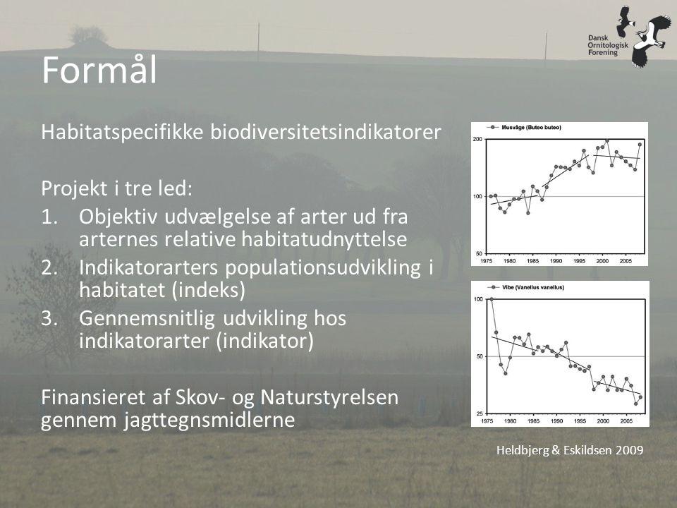 Formål Habitatspecifikke biodiversitetsindikatorer Projekt i tre led: