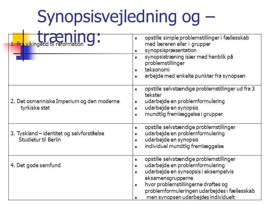 Synopsisvejledning og –træning: