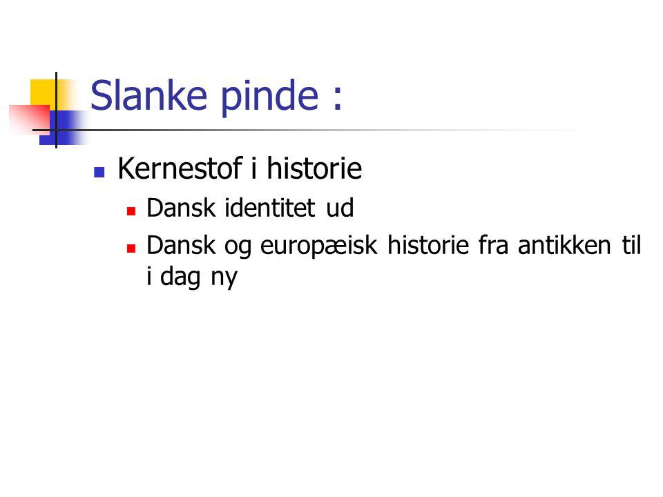 Slanke pinde : Kernestof i historie Dansk identitet ud