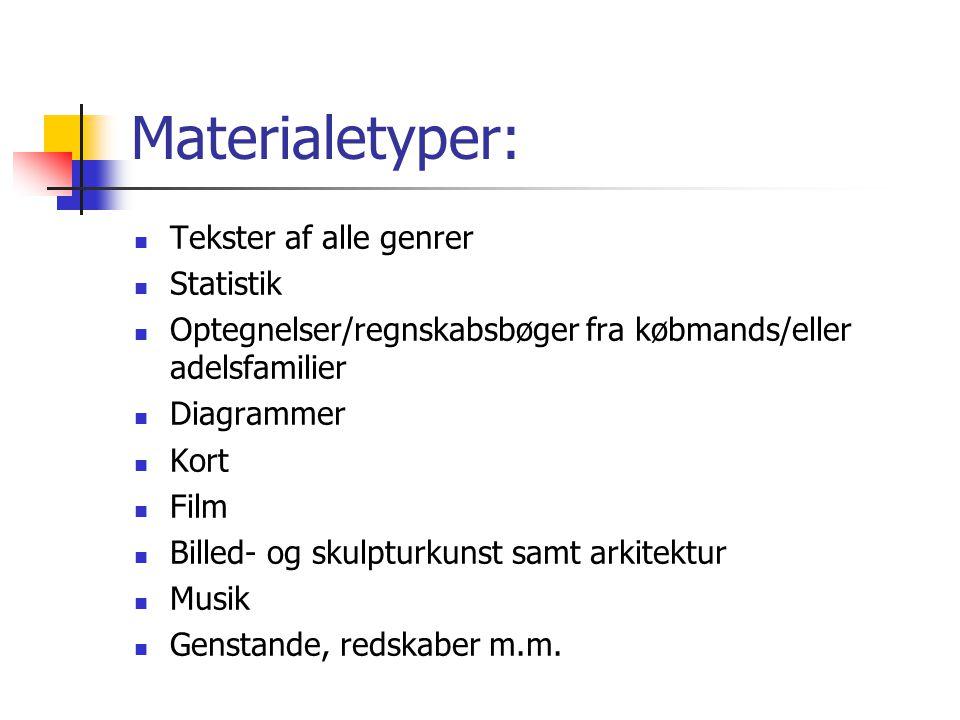 Materialetyper: Tekster af alle genrer Statistik