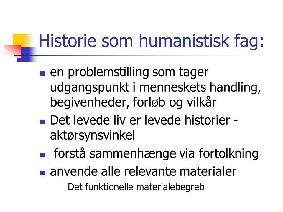 Historie som humanistisk fag: